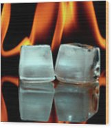 Ice Cubes On Fire Wood Print