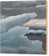 Ice Drama Wood Print by Elisabeth Van Eyken