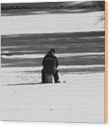 Ice Fishing Wood Print