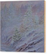 Ice Fog In The Forest Wood Print