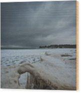 Ice Formations At Cawaja Beach Wood Print