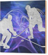 Ice Hockey Players Fighting For The Puck Wood Print