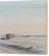 Ice Houses On Mille Lacs  Wood Print