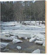 Ice Jam On The Isinglass River Barrington Nh Wood Print