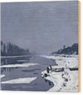 Ice On The Seine At Bougival Wood Print