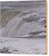 Ice Over The Falls Wood Print