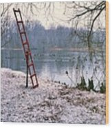Ice Rescue Ladder  Wood Print