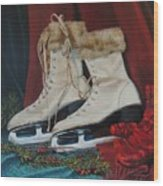 Ice Skates And Mittens Wood Print