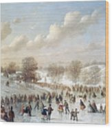 Ice Skating, 1865 Wood Print