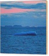Iceberg Sunset Wood Print