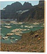 Icebergs Below Grinnell Glacier Wood Print