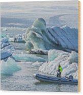 Icebergs On Jokulsarlon Lagoon In Iceland Wood Print