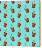Iced Coffee To Go Pattern Wood Print