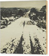 Iced Over Road Wood Print
