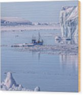 Icefjord In Greenland Wood Print