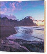 Iceland Beach Sunrise At Stokksnes Wood Print