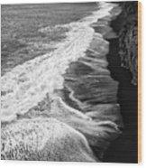 Iceland Coast Dyrholaey Black And White Wood Print