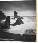 Iceland Dritvik beach and cliffs dramatic black and white Wood Print