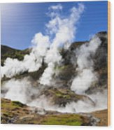 Iceland Geothermal Area With Steam From Hot Springs Wood Print