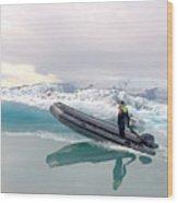 Iceland Glacier Lagoon Wood Print by Ambika Jhunjhunwala