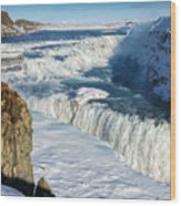 Iceland Gullfoss Waterfall In Winter With Snow Wood Print