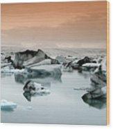 Iceland, Jokulsarlon Glacial Lagoon , Icebergs Melting Wood Print