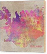 Iceland Map Wood Print
