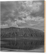 Iceland Mountain Reflections Bw Wood Print