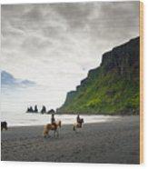 Icelandic Horses On The Beach In Vik Iceland Wood Print