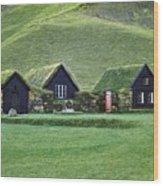 Icelandic Turf Homes Wood Print