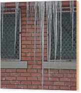 Icicles 2 - In Front Of Windows Off Red Brick Bldg. Wood Print