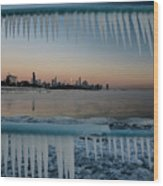Icicles And Chicago Skyline Wood Print