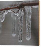 Icicles Close-up Wood Print