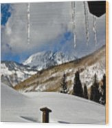 Icicles In East Vail Wood Print