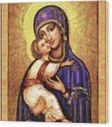 Icon Madonna And Infant Jesus Wood Print