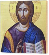 Icon Of Christ In Jericho Wood Print