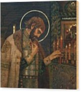 Icon Of Reverend Prince Alexander Nevsky. Saint Petersburg Wood Print