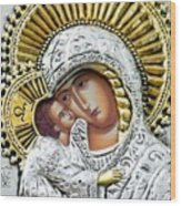 Icon Of The Bl Virgin Mary W Christ Child Wood Print by Jake Hartz