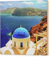 Iconic Anastaseos Oia Santorini Greece Wood Print