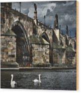Iconic Bridge In Prague Wood Print