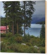 Iconic Maligne Lake And Boat House II Wood Print
