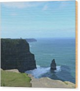 Iconic Needle Rock Formation And The Cliff's Of Moher Wood Print