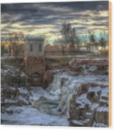 Icy Falls Wood Print