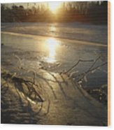 Icy Mississippi River Bank At Sunrise Wood Print