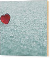 Icy Red Heart Wood Print