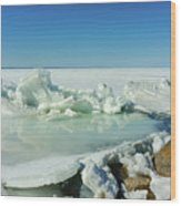 Icy Sculptures On Lake Simcoe Wood Print