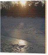 Icy Sunrise Reflection Wood Print