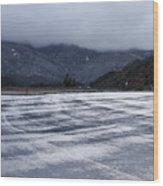 Icy Viewpoint On Silverwood Lake Wood Print