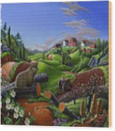 Id Rather Be Farming - Springtime Groundhog Farm Landscape 1 Wood Print