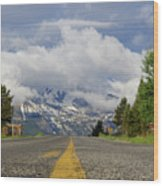 Follow The Yellow Stripe Wood Print
